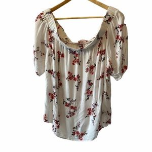 Off The Shoulder White Floral Loose Fit Top 2X